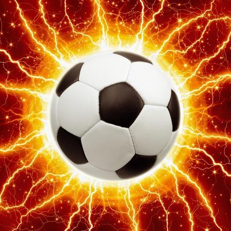 ball lightning: Abstract sports background - soccer ball, bright lightnings, stars