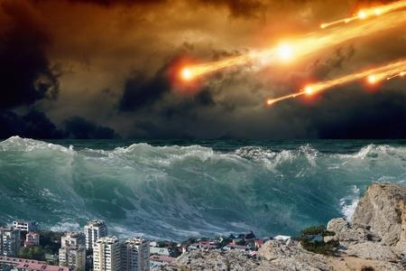 Apocalyptic background - giant tsunami waves, small coastal town, city, asteroid impact