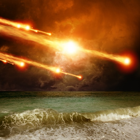 science fiction: Abstract scientific background - asteroid, meteorite impact, stormy sea, ocean