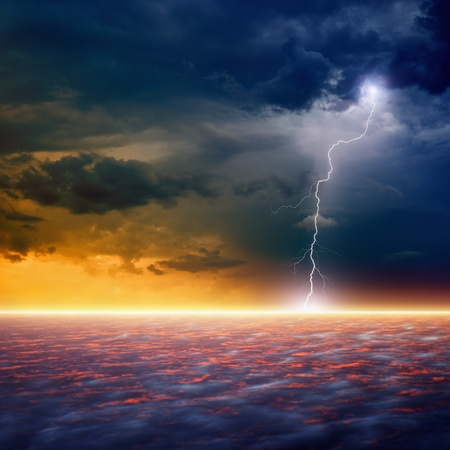 Dramatic apocalyptic background, end of world, bright lightnings, armageddon, hell Stock Photo - 19590043