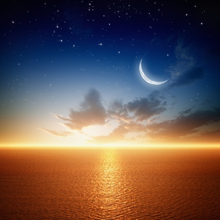 Peaceful background - beautiful sunset, sky with moon and stars, glowing horizon. Elements of this image furnished by NASA