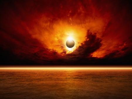 극적인 종말 배경 - 태양 일식, 붉은 석양, 어두운 하늘, 붉은 바다, 빛나는 수평선 스톡 콘텐츠