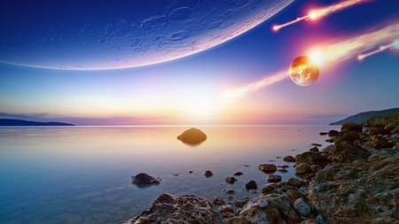 Abstract fantastic background - blue sunrise sky, smooth serene sea, alien planet in space, asteroid impact