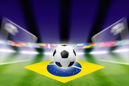 Abstract green soccer stadium, soccer ball, bright spotlights, soccer goals, Brazil flag photo