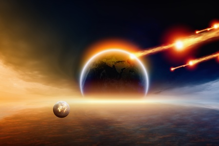 nibiru in space: Abstract scientific background - asteroid impact planet Earth.
