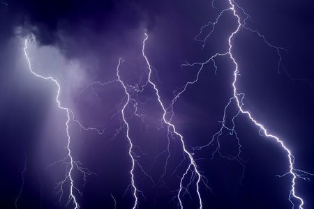 lightnings: Nature force background - dark stormy sky with lightnings