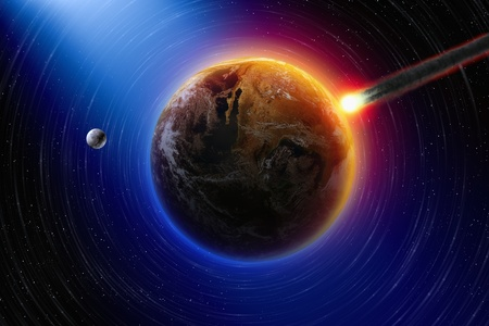 Abstract scientific background - asteroid impact planet earth, moon in space photo