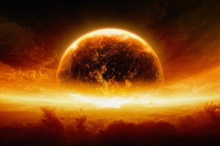抽象的な終末論的な背景が-燃焼と爆発地球の赤い空、地獄は、世界の終わり