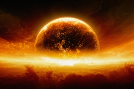fantasy fiction: Abstract apocalyptic background - burning and exploding planet Earth in red sky, hell, end of world Stock Photo