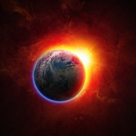 Abstract scientific background - glowing planet earth in space, red sun, global warming, climate change Foto de archivo