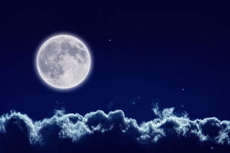 Peaceful background, night sky with full moon, stars, beautiful clouds