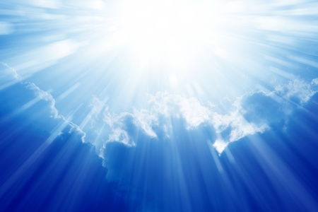 Peaceful background - beautiful blue sky with bright sun, light from heaven Banco de Imagens