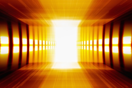 perspective room: Abstract background - glowing perspective grid, bright light from doorway Stock Photo
