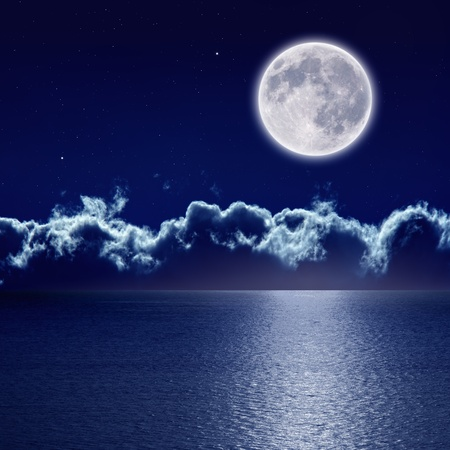 Peaceful background, night sky with full moon and reflection in sea, stars, beautiful clouds. Elements of this image furnished by NASA Foto de archivo