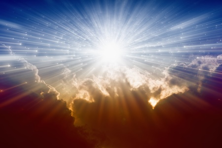 heavenly: Beautiful background - bright sunshine, light from sky, heaven Stock Photo