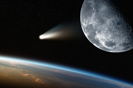 Abstract scientific background - comet approaches planet earth, moon in space. Elements of this image furnished by NASA