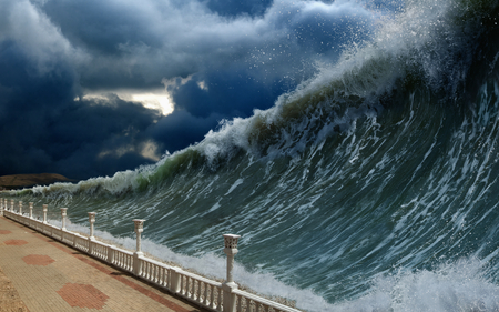 tsunami: Apocalyptic dramatic background - giant tsunami waves, dark stormy sky Stock Photo