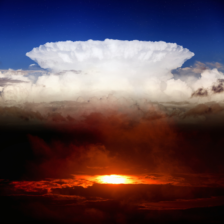 heaven and hell: Dramatic background - dark red sunset, white clouds, blue sky, heaven and hell