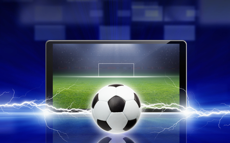 Technology, sports background - tablet pc, computer, soccer ball struck by lightning, sports game online, soccer online photo