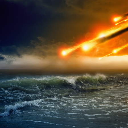 Abstract dramaticc background - asteroid impact, meteorite impact, stormy sea, ocean Stock Photo