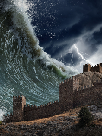 Apocalyptic dramatic background - giant tsunami waves crashing old fortress, tower. Stormy sky with lightning.