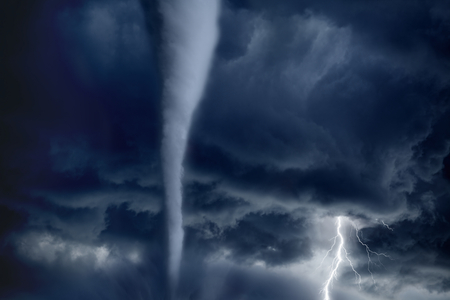 hurricane: Nature force background - huge tornado, bright lightning in dark stormy sky Stock Photo