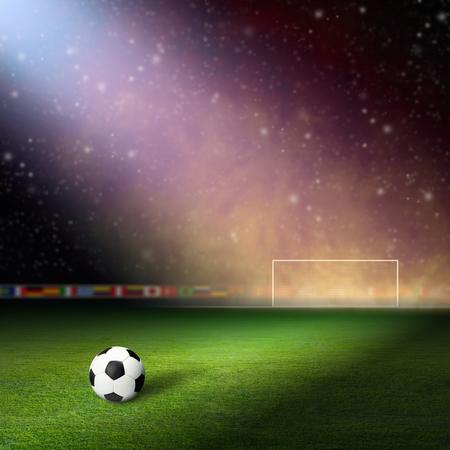 stadium lights: Soccer stadium, soccer ball on green stadium, arena in night illuminated bright spotlights, soccer goal, smoke on stadium