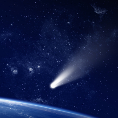 approaches: Scientific and astrological background - comet approaches planet earth, space with stars and nebula; mystical sign in sky. Elements of this image furnished by NASA