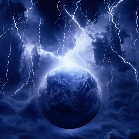 Dramatic fantastic background - lightnings hits planet Earth in dark dramatic sky, end of world. Elements of this image furnished by NASA Foto de archivo