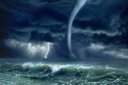 climate change: Nature force background - huge tornado, bright lightning in dark stormy sky, stormy sea, big waves