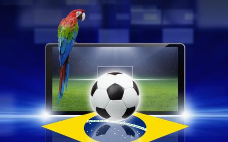Technology, sports background - tablet pc, computer, soccer ball, sports game online, soccer online, brazil flag, brazil soccer, brazil parrot photo