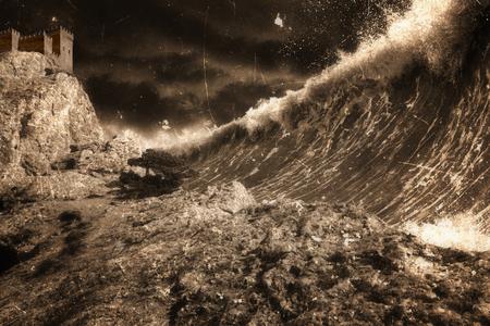 tsunami: Apocalyptic dramatic background - giant tsunami waves, old fortress, tower. Dark stormy sky.