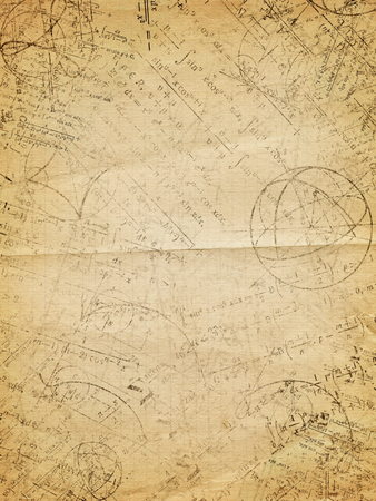 math symbols: Abstract scientific background - mathematical equations, formulas, graphs on old brown paper Stock Photo