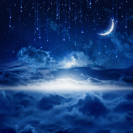 Peaceful background, blue night sky with moon, falling stars, beautiful clouds, glowing horizon. Elements of this image furnished by NASA photo