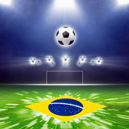 Soccer ball, green soccer stadium, arena in night illuminated bright spotlights, soccer goal, Brazil flag, brazil soccer