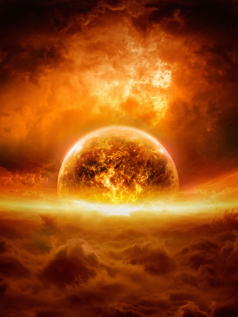Abstract apocalyptic background - burning and exploding planet Earth in red sky, hell, end of world. Elements of this image furnished by NASA