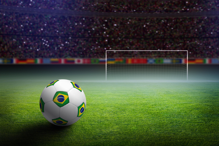 Soccer stadium at night, soccer ball with brazil flag, green soccer field, soccer goal