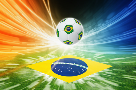 Soccer ball with brazil flag, brazil flag on green soccer field, world soccer event, bright colorful lights