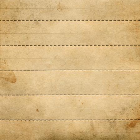 scheidingslijnen: Oud bruin gestructureerd papier met snijden, verdelen stippellijnen Stockfoto