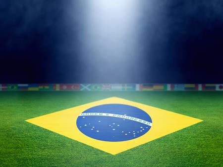 field  soccer: Estadio de f�tbol en la noche, Bandera de Brasil en el campo de f�tbol verde, acontecimiento del f�tbol mundial Foto de archivo