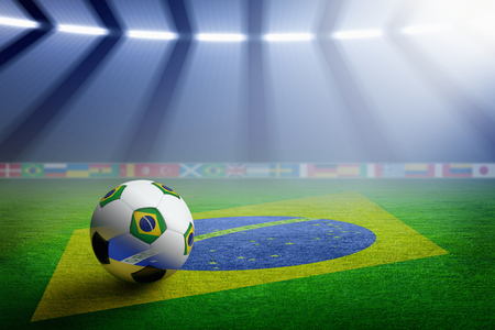 Soccer ball, green soccer stadium, arena in night illuminated bright spotlights, flag of Brazil, brazil soccer