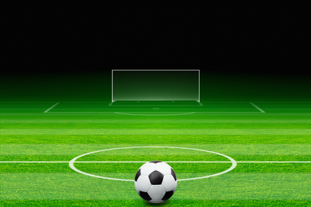 field goal: Sports background - soccer ball, green soccer field, soccer stadium at night, soccer goal