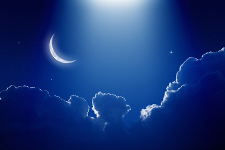 moon stars: Peaceful background, blue night sky with moon, stars, beautiful clouds and bright spotlight from above. Elements of this image furnished by NASA