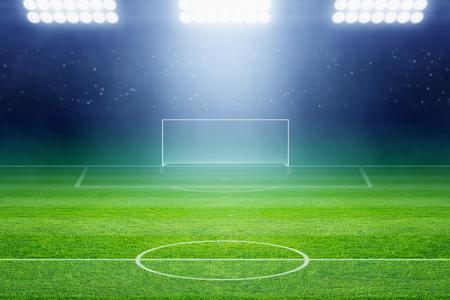Soccer background, soccer stadium, arena in night illuminated bright spotlights, soccer goal, green field Foto de archivo