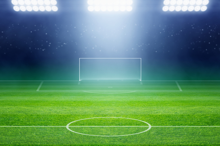 Soccer background, soccer stadium, arena in night illuminated bright spotlights, soccer goal, green field Stock Photo