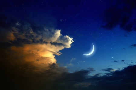 moon stars: Tranquil background - beautiful romantic sunset, big glowing cloud, moon and bright stars in dark blue sky.  Stock Photo