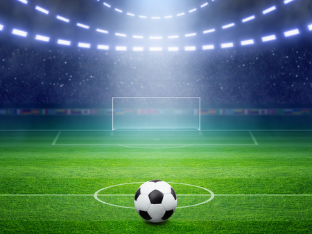 Soccer background, soccer ball, soccer stadium, arena in night illuminated bright spotlights, soccer goal, green field
