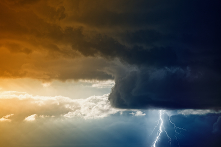 force of nature: Nature force background - bright lightning from dark stormy sky  Stock Photo