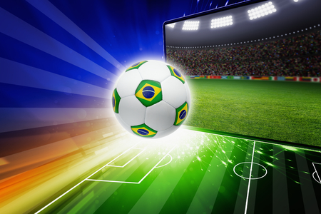 Technology, sports background - soccer stadium on tv screen, soccer ball, sports game, soccer online, brazil flag, brazil soccer live, brazil soccer online