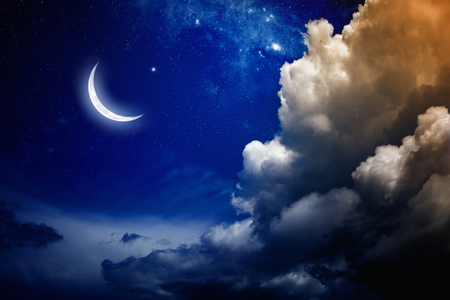 Eid Mubarak background with shiny moon and stars.   Stock Photo